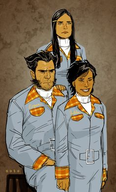 """Awkward Family Photo - To celebrate the release of the WOLVERINE/JUBILEE HC today and my upcoming X-23 arc I give you this portrait of Logan and his """"daughters"""". Big thanks to Jeanine Schaefer, Kathryn Immonen, Marjorie Liu and Jody LeHeup for making it all possible :)"""