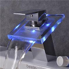 Farbwechsel LED Wasserfall Bad Waschtischarmatur (verchromt)