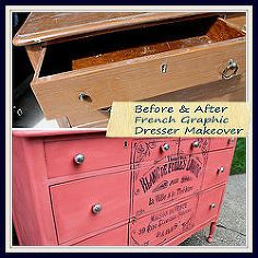 painted furniture dresser coral french graphic, painted furniture