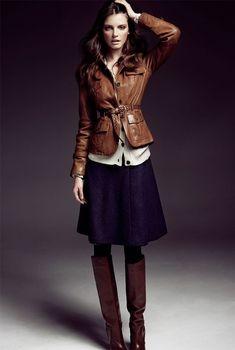 Feminine by roseann/ fall style. Love the leather jacket