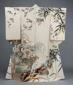 "Ueno Tameji Yuzen dyeing ceremonial kimono of hitokoshi silk crepe ""Delight"", made in 1954 Tokyo National Museum Collection Traditioneller Kimono, Look Kimono, Kimono Fabric, White Kimono, Yukata, Traditional Japanese Kimono, Traditional Dresses, Japanese Geisha, Japanese Art"