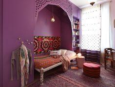 chambre d'ado de rêve. Ethnique chic et tellement tendance en violet  ! #bedroom #Kids # interiors # chambre d'enfant