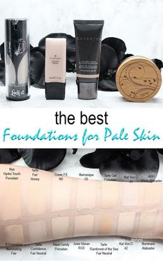 Best Foundations for Pale Skin. Courtney shares the best foundation options for dry, normal and oily skin types who have pale skin. She covers liquid, cream, and powder foundations. Cruelty free and most are vegan foundations. Foundation For Pale Skin, Foundation Tips, White Foundation Makeup, Cream To Powder Foundation, Perfect Foundation, Pale Skin Makeup, Eye Makeup, Makeup Geek, Belle De Jour