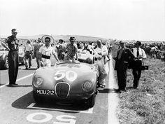 Jaguar C-type XKC005 at Reims Grand Prix, 1952 Stirling, Vintage Racing, Vintage Cars, Vintage Auto, Jaguar C Type, Jaguar Cars, Grand Prix, Brakes Car, Jaguar Daimler