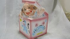 EO. Brody Art Pottery, Cleveland Ohio, Nursery Planter Pink Clown, Jack In The…