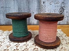Pair of Antique Wooden Spools from by greatoldcountryfinds on Etsy, $22.00