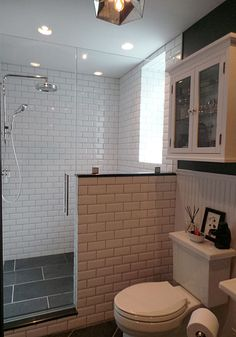 Thermostatic rain shower / Slate tiles / Beveled subway tiles / Pony wall / Walk-in shower / Bathroom design {Apple a Day Beauty} @Kohler Co.