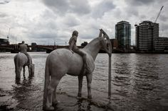 I Sculpted Four Horsemen And Submerged Them In The Thames To Warn Of Climate Change | Bored Panda