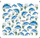 Nail Art Stickers | Set Nagel Sticker Nail Art ONE STROKE Delphin blau water decal Neu ...