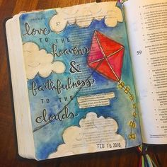 Bible Journaling by Kayla @kaylas_painted_faith | Psalm‬ ‭57:10-11‬