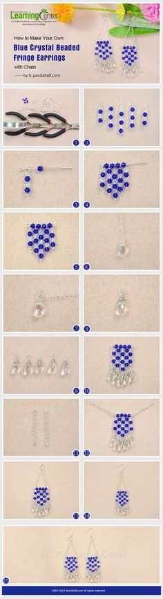 How to Make Your Own Blue Crystal Beaded Fringe Earrings with Chain
