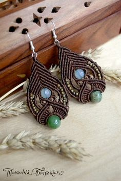 Earrings with jade. Pamir. #macrame #micromacrame