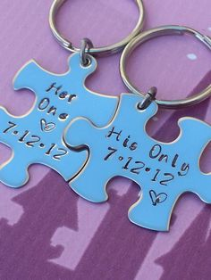 His and Her Puzzle Piece Keychain Set With Date - Couples,Wedding, Anniversary Keychain on Wanelo