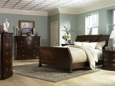 THE FURNITURE :: Solid Wood Sleigh Bedroom Set, 'Retrospect' Collection By Fairmont Designs. Beautiful wall color!