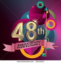 48th Anniversary, Party poster, party invitation - background geometric glowing element. Vector Illustration - stock vector