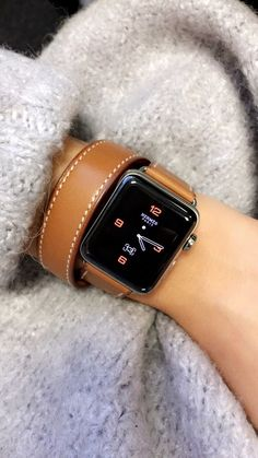 Utilize your Apple watch for Fitness, Exercising and Wellness.  Gray sweater, Hermes Apple Watch, Leather strap, Smart watch. #WatchBands