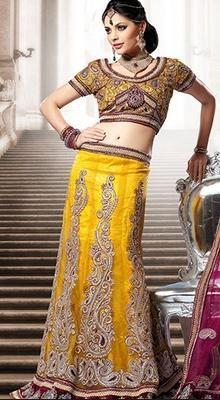 Vivacious Gold Color Lehenga Choli