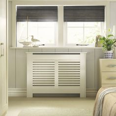 Suffolk Small White Painted Radiator cover - B&Q for all your home and garden supplies and advice on all the latest DIY trends White Radiator Covers, Modern Radiator Cover, Best Radiators, Kitchen Radiator, Painted Radiator, Designer Radiator, White Paints, Cover Design, White Cabinets
