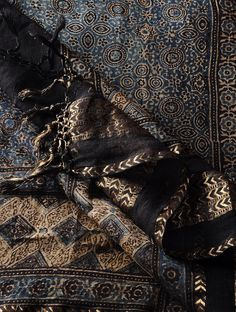 Buy Black-Indigo Chanderi Ajrakh Printed Zari Border Dupatta By Jaypore Online at Jaypore.com