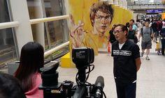 """""""Alive"""" Bruce Lee trick art at HK Airport."""