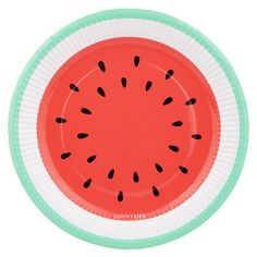WATERMELON paper party PLATE with aqua green rim by Sunnylife Australia. Perfect for a picnic or tropical themed summer party - Bonjour Fete - a party supply boutique