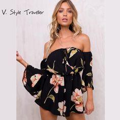 3a886fddae4b Casual off Shoulder Playsuit Sexy Bodysuit Women Shorts Boho Flower Print  Jumpsuit vestido Summer Style Beach