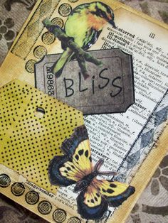 OOAK Art Collage and Ink Card BLISS by PaperPastiche on Etsy, $6.95#Repin By:Pinterest++ for iPad#