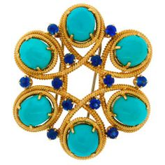 Van Cleef & Arpels Turquoise Sapphire Yellow Gold Pin Brooch