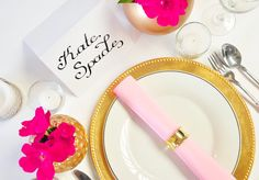 Custom Hand Lettered Calligraphy Place Cards or by ORdesigns // Wedding Calligraphy // Modern Calligraphy // Typography // Kate Spade-Inspired Tablescape // Hand Letter Paper Goods