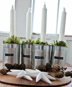 17 Modern Advent Wreath Ideas that are Beautiful and Meaningful! New takes on the traditional Advent Wreath. Celebrate Christmas with a new tradition and make your own DIY Advent wreath. Advent Wreath Candles, Christmas Advent Wreath, Christmas Candle Decorations, Christmas Candles, Advent Wreaths, Reindeer Christmas, Christmas Trees, Christmas Feeling, Nordic Christmas