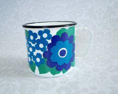 Finel Enamelware Mug - Mid Century Blue Elisa Daisy Enamel Cup - Finel by Kaj Franck