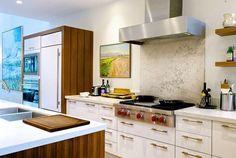 The fridge. 10 Kitchens Without Upper Cabinets Kitchen Gallery Galley Kitchen Design, Kitchen Cabinet Design, Kitchen Layout, Kitchen Interior, Kitchen Decor, Kitchen Ideas, Kitchen Modern, Kitchen Inspiration, Kitchen Stuff