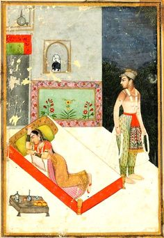 Lalita ragini, her lover leaves wistfully in the early morning after a passionate tryst. Rajput late 18th C. India