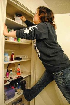Short girl problems- I literally do his all the time in my parents pantry, there is no other way to get to the top shelf!