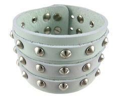 Zeckos Gray Leather 3 Row Cone Spiked Wristband Blemished for sale online Leather Wristbands, Automatic Watches For Men, Leather Gifts, Adjustable Bracelet, Bracelet Sizes, Bracelet Designs, Grey Leather, Stainless Steel Bracelet, Bracelets For Men