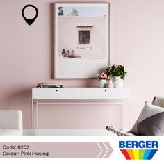 With Pink Musing a variety of creativeness is able to take place. The soft and elegant shade doesn't steal much focus from your decor details and wall frame it just complements and completes your desired look.