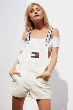 Shop Tommy Jeans Shortall Overall at Urban Outfitters today. We carry all the latest styles, colors and brands for you to choose from right here. Tommy Hilfiger Overalls, Tommy Hilfiger Mujer, Tommy Hilfiger Fashion, Tommy Hilfiger Women, Sporty Outfits, Cute Outfits, Fashion Outfits, Fresh Outfits, Women's Fashion