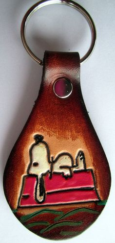 Custom Order for flowergala Leather Snoopy Key by galeatherlady, $10.00