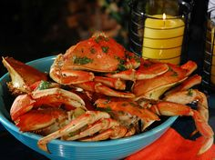 Dungeness Crabs Steamed on the Grill in Ginger, Soy, Lime, Mirin and Soy from Bobby Flay's BBQ Addiction on The FoodNetwork - Heath :)