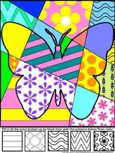 Spring Pop Art Interactive coloring sheets (5 designs + bonus)