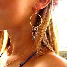 Labradorite and Rose Cascade Hoops  Rose Gold and by delialangan, $110.00