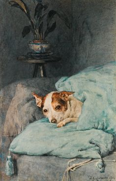 Watercolour by Frederick George Cotman (1850-1920), 1904,'Tucked up'.