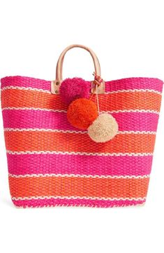 Capri Woven Tote with Pom Charms