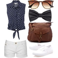 """navy pocka dot"" by victoria-publicover on Polyvore"