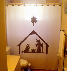Christmas SHOWER CURTAIN Nativity Scene By CustomShowerCurtains 7500 Birth Of Jesus Baby