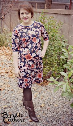 Byrdie Couture: Colette Laurel in Ponte Floral. DIY shift dress. With tights and boots.
