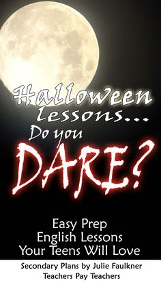 Halloween lessons for secondary classrooms, best high school halloween lessons, best middle school lessons for halloween, halloween activities for high school, halloween activities for middle school, teacherspayteachers, halloween poetry, halloween nonfiction
