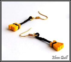 Halloween witch's broom - quilling earrings by Elven Quill www.facebook.com/elven.quill