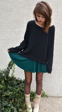 sweater over dress. Tights, sneaks, socks.