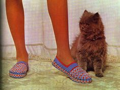 'Red, White and Blue Slippers' from the Hamlyn Family Crochet Book 1971.  Pattern available at Gather.